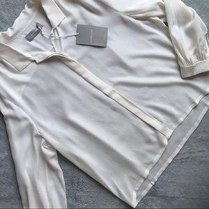 NWT Everlane Shirred Silk Button Shirt White 12